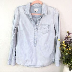 J.Crew faded chambray popover pocket collared